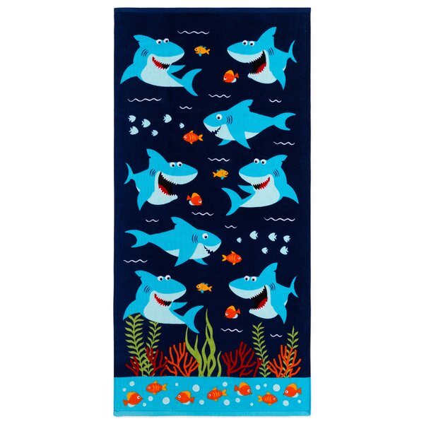 Jermey Shark 100% Cotton Beach Towel by Zoomie Kids